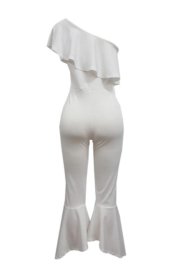 Модные Росы Плеча Falbala Дизайн Белый Полиэстер Цельный Комбинезон
