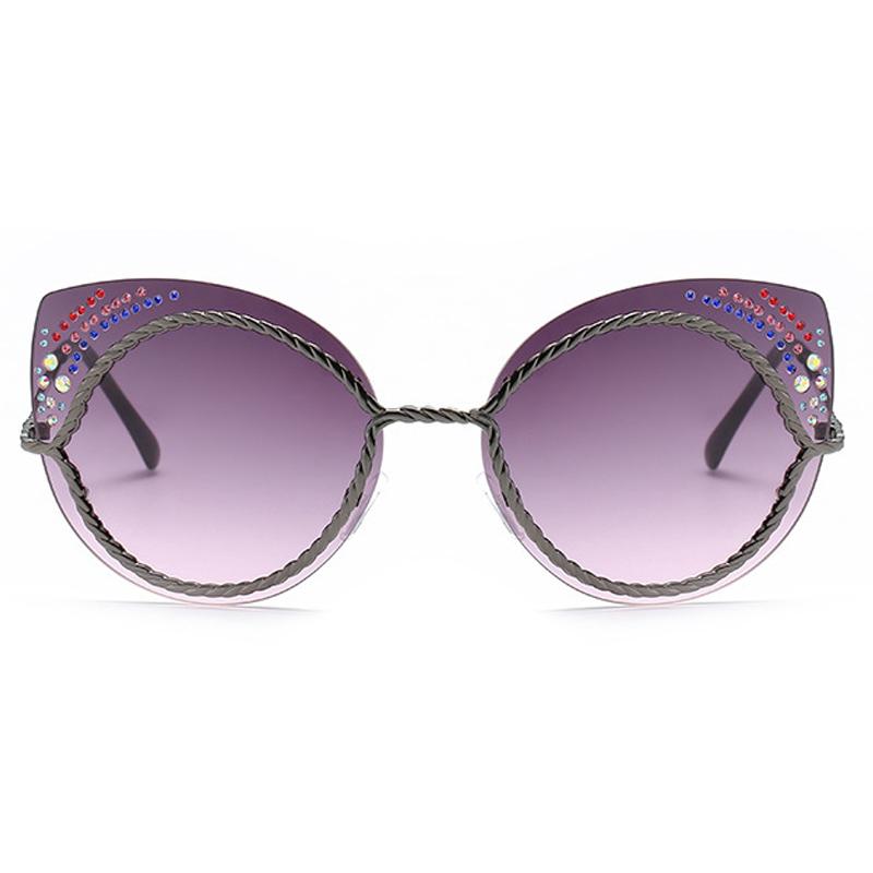 Gafas de sol de plástico decorativo Gris Rhinestone de Euramerican
