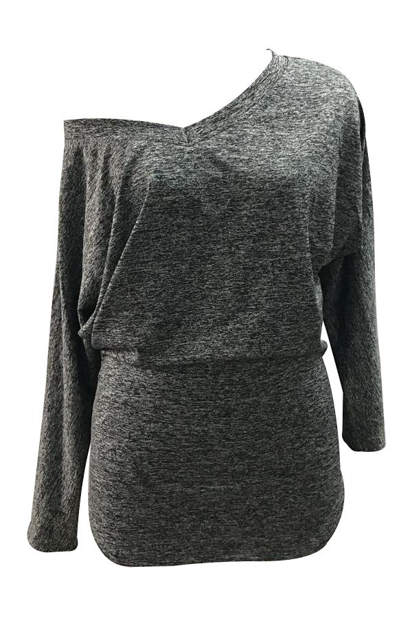 Freizeit Tau Schulter dunkel grau Polyester Kleid