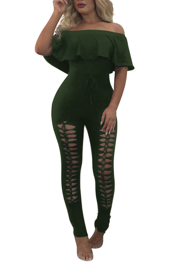 Trendy Dew Shoulder Hollow-out Army Green Polyester One-piece Jumpsuits
