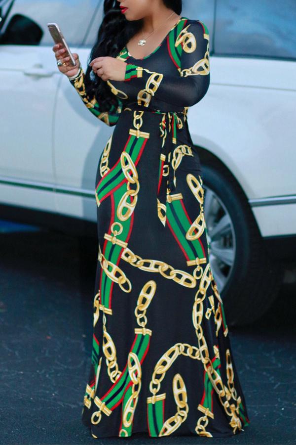Encantadora Cadena De Cuello Redondo De Moda Impresa Vestido De Longitud De Tobillo De Tela Sana