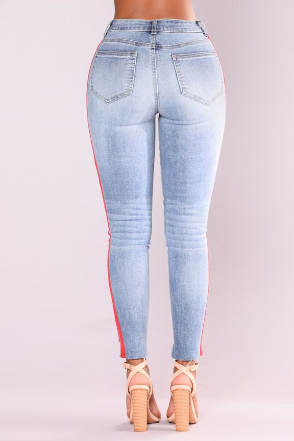 Stylish High Waist Patchwork Broken Holes Blue Denim Pants