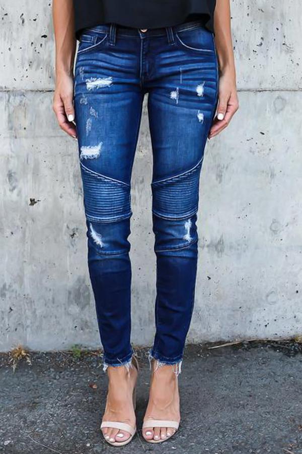 Lovely Euramerican Patchwork Dark Blue Denim Pants