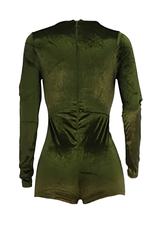 Sexy Deep V Neck Army Green Velvet One-piece Jumpsuits