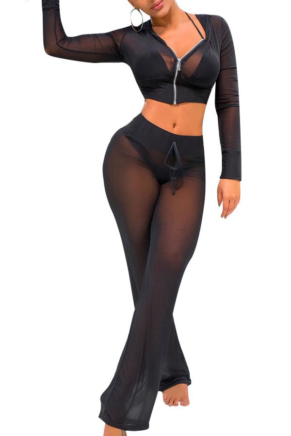 Sexy See-Through Black Polyester Conjunto de calças de duas peças