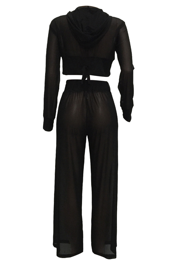Sexy See-Through Black Polyester Two-piece Pants Set