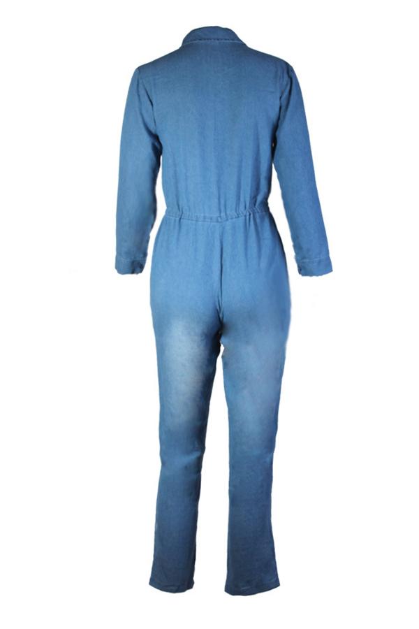 Euramerican Turndown Collar Blue Denim One-piece Jumpsuits