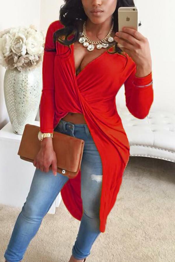 Camicie Sexy Asimmetriche Rosse Con Scollo A V