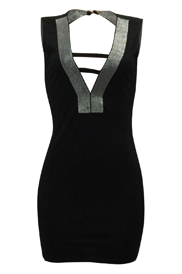 Sexy V-Ausschnitt aushöhlen schwarzes Polyester Mantel Minikleid