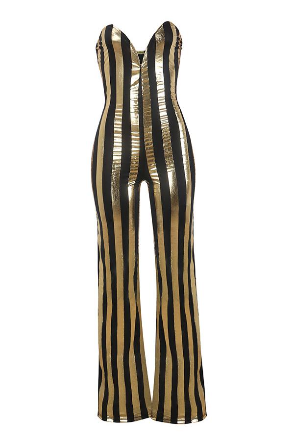 Jumpsuits de una pieza de poliéster negro y dorado a rayas con hombros descubiertos