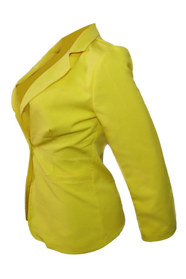 Elegante Cuello De Ventana Botón único Botón Chaqueta De Poliéster Amarillo