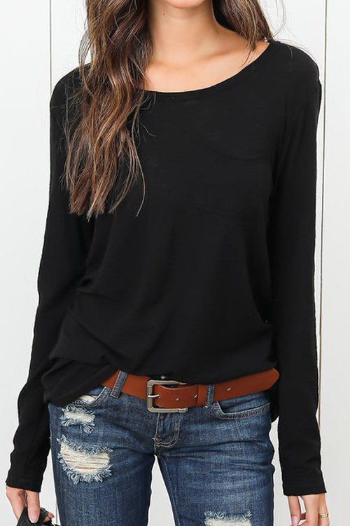 Lovely Casual Round Neck Black Polyester T-shirt