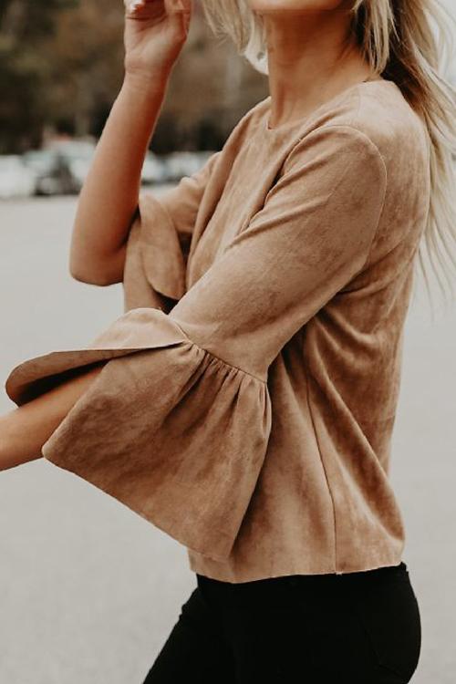 Lovely Fashionable Horn Sleeves Round Neck Khaki Blending T-shirt
