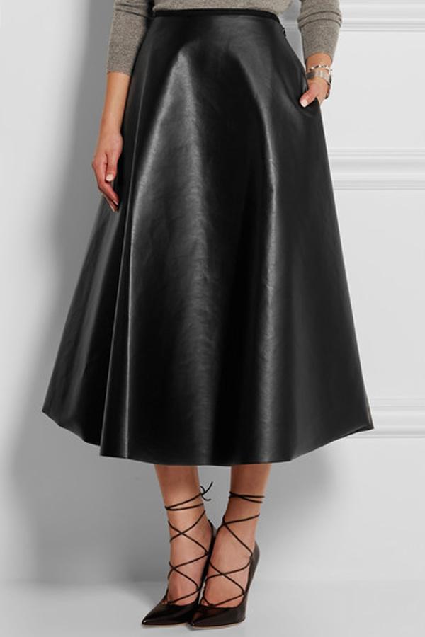 Trendy Mid Black Leather Mid Calf Skirts