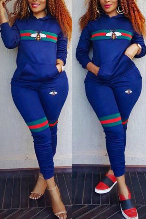 Lovely Leisure Hooded Collar Printed Pocket Design Deep Blue  Two-Piece Pants Set