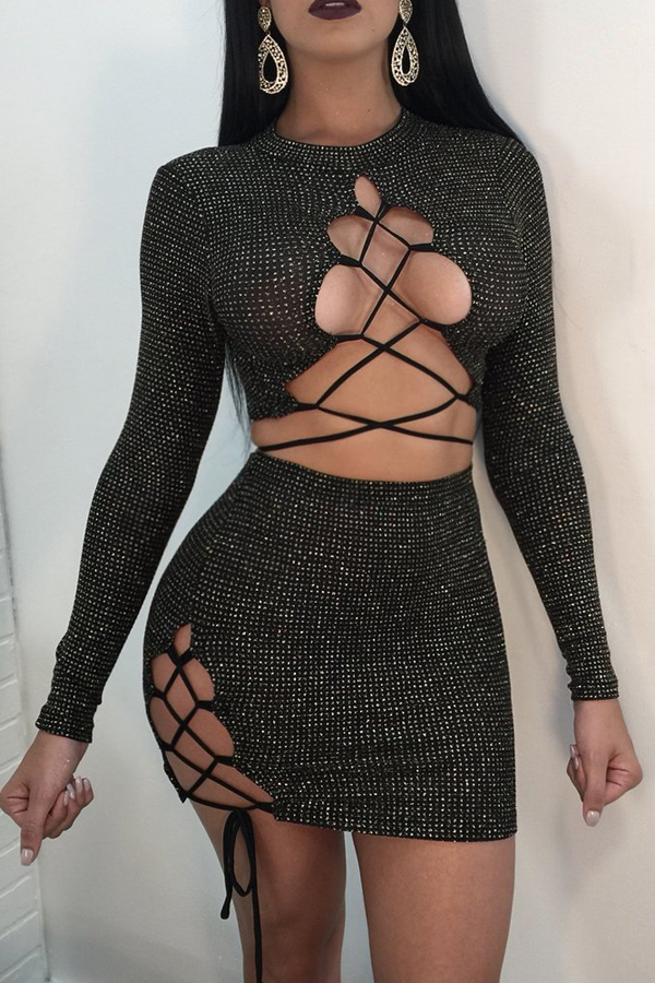Sexy Round Neck Lace-up Hollow-out Black Knitting Two-piece Skirt Set