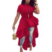 Stylish Mandarin Collar Asymmetrical Falbala Design Red Polyester Mid Calf Dress