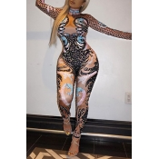 Sexy Long Sleeve Polyester One-piece Skinny Jumpsuits