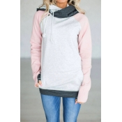 Lovely Leisure Long Sleeves Patchwork Pink Blendin