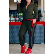 Leisure Round Neck Zipper Design Green Cotton Two-piece Pants Set