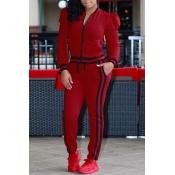 Leisure Round Neck Zipper Design Red Cotton Two-piece Pants Set