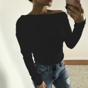 Camisas de algodão preto de ombro Dew Shoulder