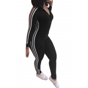 Leisure Striped Patchwork Black Polyester One-piece Jumpsuits