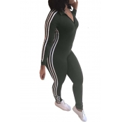 Leisure Striped Patchwork Army Green Polyester One-piece Jumpsuits