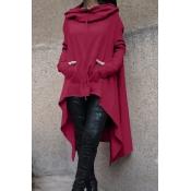 Leisure Long Sleeves Asymmetrical Purple Cotton Hoodies