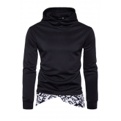 Cotton Blends Hooded collar Long Sleeve Patchwork
