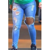 Stylish High Waist Broken Holes Blue Pants