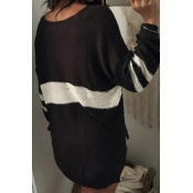 Euramerican V Neck Long Sleeves Patchwork Black Wo