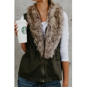 Lovely Euramerican Fur Design Green Blending Waist