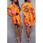 Trendy Turndown Collar Printed Orange Polyester Knee Length Dress