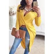 Camisas De Mistura Amarelas Assimétricas Do Decote Em V Sexy