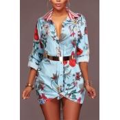 Модные отложным воротником печатных голубой здоровой ткани мини-платье(без пояса)