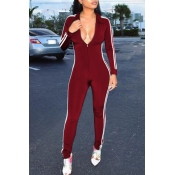 Euramerican Deep V Neck Zipper Design Wine Red Polyester One-piece Jumpsuits