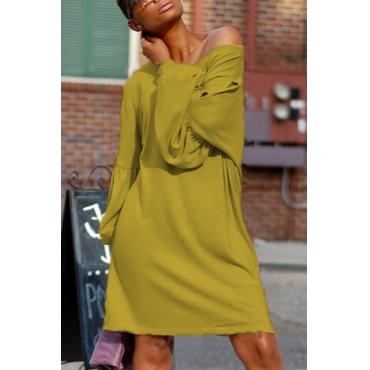 Leisure Dew Shoulder Yellow Cotton Blend Knee Length Dress