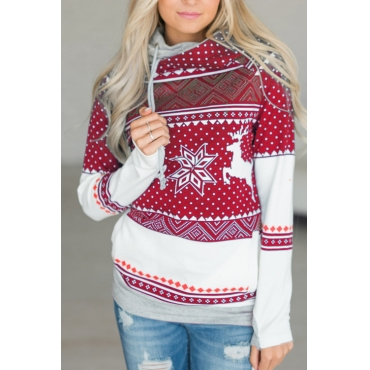 Lovely Euramerican Long Sleeves Printed Red Cotton Blends Pullovers