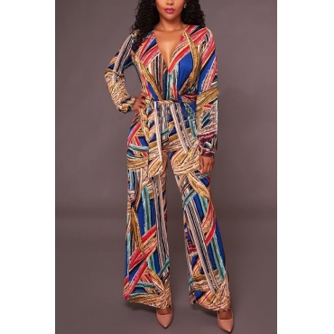 Stylish V Neck Printed Polyester One-piece Jumpsuits