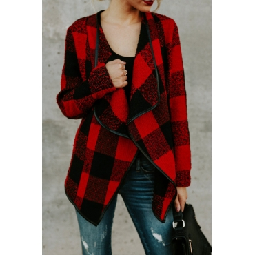 Stylish V Neck Plaids Red Polyester Coat