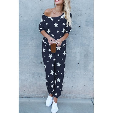 Euramerican Dew Shoulder Five-stars Printed Navy Blue Cotton Two-piece Pants Set