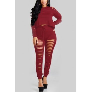 Sexy Hollow-out Wine Red Polyester Two-piece Pants Set