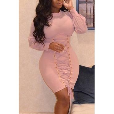 Trendy Round Neck Lace-up Pink Polyester Sheath Mini Dress
