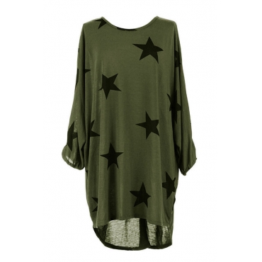 Leisure Round Neck Printed Asymmetrical Green Polyester Knee Length Dress