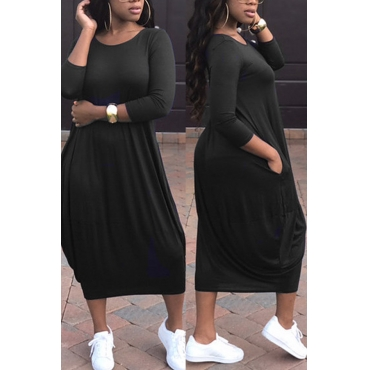 Leisure Round Neck Black Polyester Mid Calf Dress