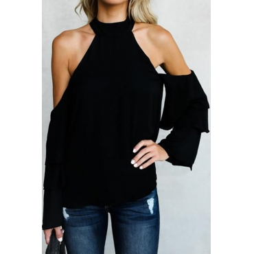 Trendy aushöhlen schwarze Chiffon-Hemden