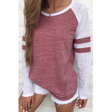 Lovely Leisure Round Neck Patchwork Red Polyester T-shirt
