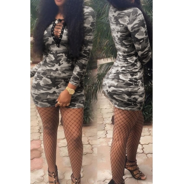 Casual Camouflage Printed Hollow-out Polyester Sheath Mini Dress