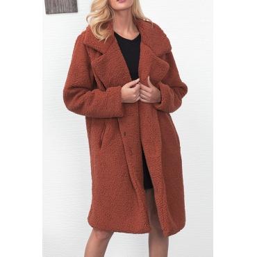 Trendy Turndown Collar Long Sleeves Light Tan Faux Fur Long Wool Coat